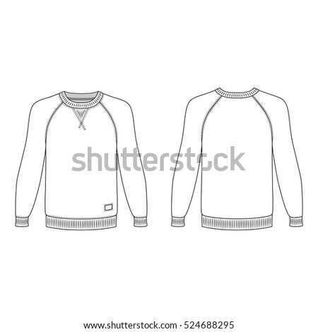 Raglan Long Sleeve Tshirt Outlined Template Stock Vector Royalty