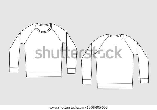 Raglan Sweatshirt Vector Template Isolated On Stock Vector Royalty Free 1508405600
