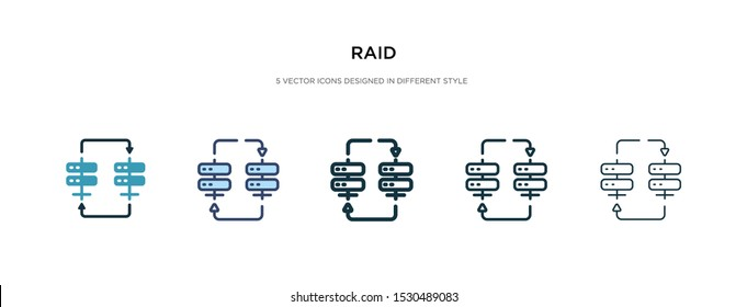 raid icon in different style vector illustration. two colored and black raid vector icons designed in filled, outline, line and stroke style can be used for web, mobile, ui