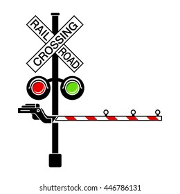 Rail crossing signal icon in simple style isolated on white background
