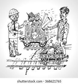 Rail freight. Trade between Europe and Asia. Vector cartoon in vintage style