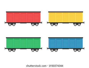 Rail freight transport vector. Container vector.