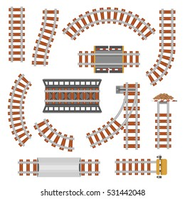 Rail or railroad, railway top view. Train transportation track made of steel and wood, rail wavy or curvy, straight connections. Locomotive path top view.Train station, transportation and travel theme