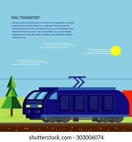Rail transport cargo train flat design banner