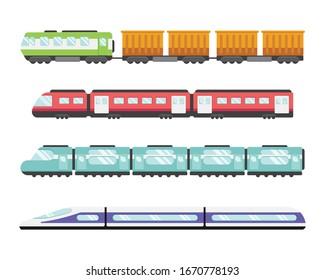 Rail transport system. Train illustration set. Flat style side view.