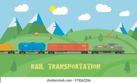 Rail transportation on summer landscape. Flat design