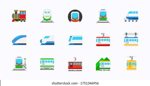Rail transportation vector icons set. Railway, Railroad, Train Transport collection. Isolated Locomotive, High Speed, Passenger, Freight Train, Monorail, Tram, Subway, Cable Car icons pack