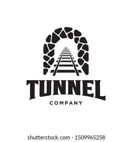 rail with tunnel  logo design template