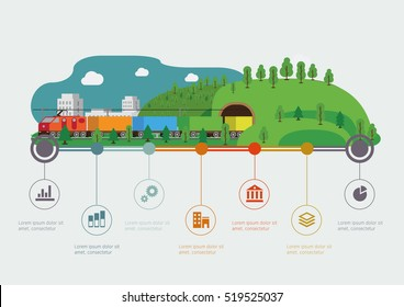 Rail way infographic time line. Rail road and train transportation concept. Vector illustration