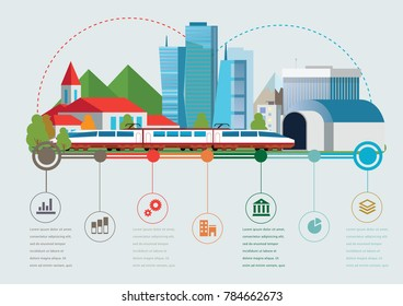 Rail way infographic time line. Industry and train transportation concept. Vector illustration