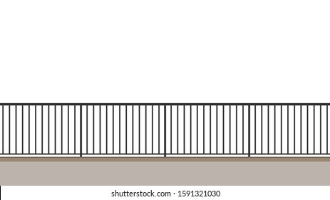 Railing vector. railing on white background. wallpaper. free space for text. copy space.