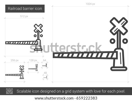 Railroad Barrier Vector Line Icon Isolated Stock Vector (Royalty