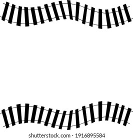 railroad frame, border. sketch hand drawn doodle style. minimalism, monochrome. template invitation, card, banner train transport children
