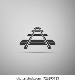 Railroad icon isolated on grey background. Flat design. Vector Illustration