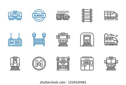 railroad icons set. Collection of railroad with subway, train, subway entrance, metro, underground, rail. Editable and scalable railroad icons.