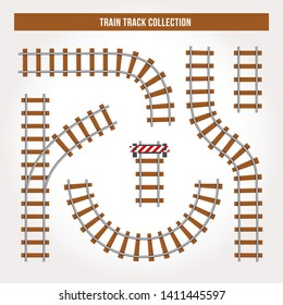 Railroad isolated elements for create your own railway siding. Detailed vector illustration include: train bridge, railroad signal, railway crossing, rail sections, junction