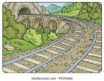 Railroad Mountain Landscape - Cartoon Illustration Background