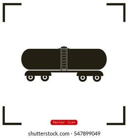 Railroad oil petroleum tank icon. Gasoline transportation. Logistics. Silhouette. Flat design vector illustration.