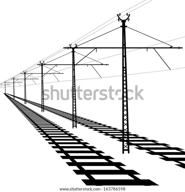 railroad overhead lines contact wire vector stock vector  royalty free  163786598