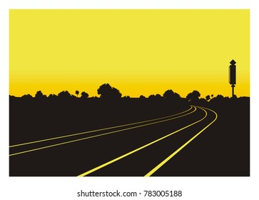 railroad in perspective view with trees silhouette background