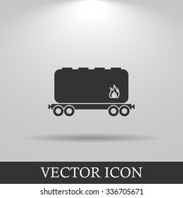 Railroad tank icon. Flat design style eps 10