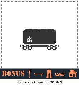 Railroad tank icon flat. Simple vector symbol and bonus icon