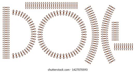 Railroad track train vector top view. Railway locomotive travel path transit way line. Subway traffic curve set metro