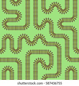 Railroad track vector seamless pattern, simple flat background illustration, stock vector endless railroad tracks isolated on monochrome background, rail transport toy or gift wrapping paper pattern.