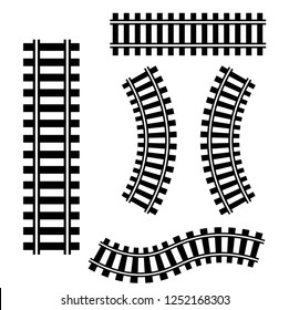railroad tracks icon. Vector set