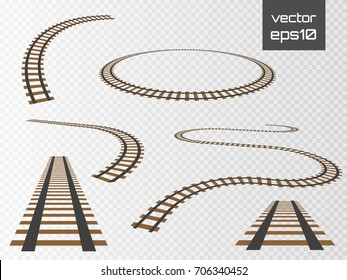 Railroad tracks set, rails collection isolated on transparent background. Vector ilustration.