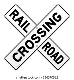 Railroad Traffic Sign - Road sign of train crossing road on white background