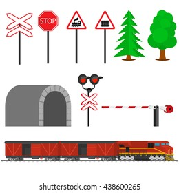 Railroad traffic way and train with boxcars.Railway equipment with signs, barriers, alarms, traffic lights. Flat icons vector illustration.
