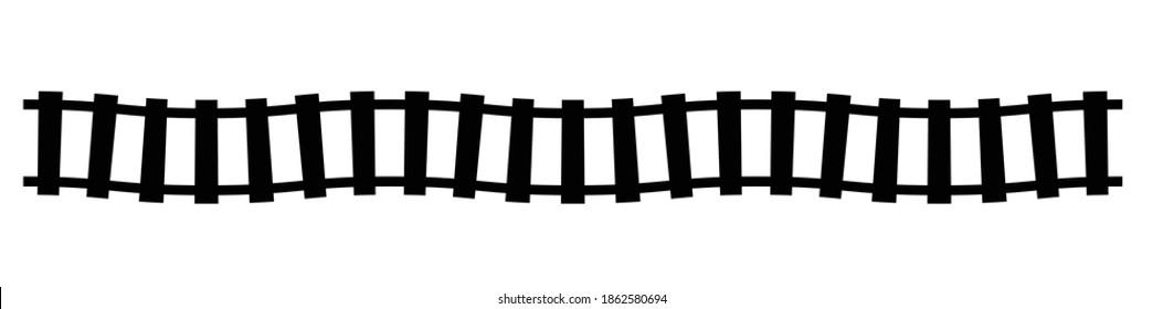 Railroad, Train track, Railway contour, silhouette vector. Tramway, metro, subway path