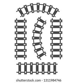 Railroad train tracks vector. Train tracks railroad icon