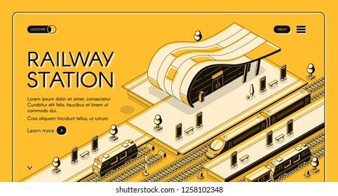 Railroad transport company isometric vector web banner with high-speed and freight trains stopping on futuristic design railway station line art illustration. Modern city transport hub landing page