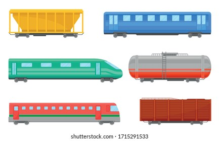 Railroad Transportation and Train Carriage for Freight and Passenger Traffic Vector Set