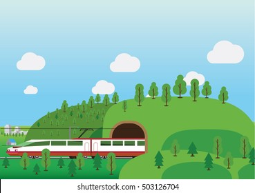Railroad tunnel vector illustration. Travel by train concept.