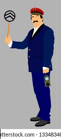 Railroader in uniform vector illustration. Railway man on duty. Platform controller at steam railway station. Railway worker traffic controller giving a signals to the train crew. Metro travel concept