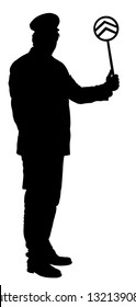 Railroader in uniform vector silhouette. Railway man on duty. Platform controller at a steam railway station. Railway worker traffic controller giving a signals to the train crew. Metro travel concept