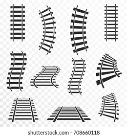 Rails set on transparent background. Straight and curved railroad tracks icon. Vector