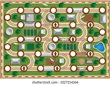 Railway. Board game. View from above. Vector illustration.