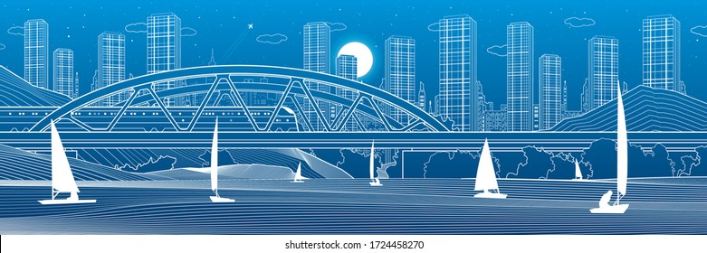 Railway bridge over the river. Train rides. Sailing boats on the water. Outline urban illustration. Evening city scene. Town cityscape. White lines on blue background. Vector design art