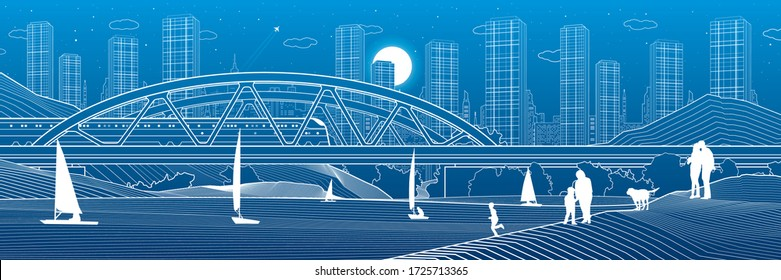 Railway bridge over the river. Train rides. Sailing boats on the water. people at shore. Outline urban illustration. Evening city scene. Town cityscape. White lines on blue background. Vector design
