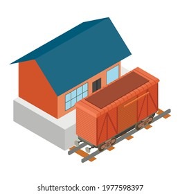 Railway car icon. Isometric illustration of railway car vector icon for web