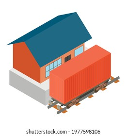 Railway carriage icon. Isometric illustration of railway carriage vector icon for web