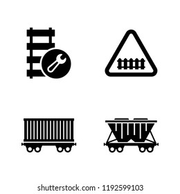 Railway Carriage, Train. Simple Related Vector Icons Set for Video, Mobile Apps, Web Sites, Print Projects and Your Design. Railway Carriage, Train icon Black Flat Illustration on White Background.