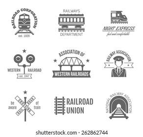 Railway corporation railroad department fast train express black label set isolated vector illustration