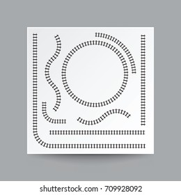 Railway curve, straight, circle, arc, collection set, illustration vector blank white square paper and real shadow.