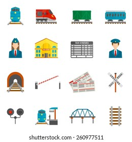 Railway flat icons set with train locomotive wagon conductor isolated vector illustration