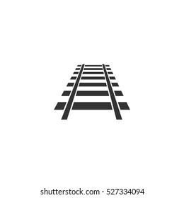 Railway icon flat. Illustration isolated vector sign symbol
